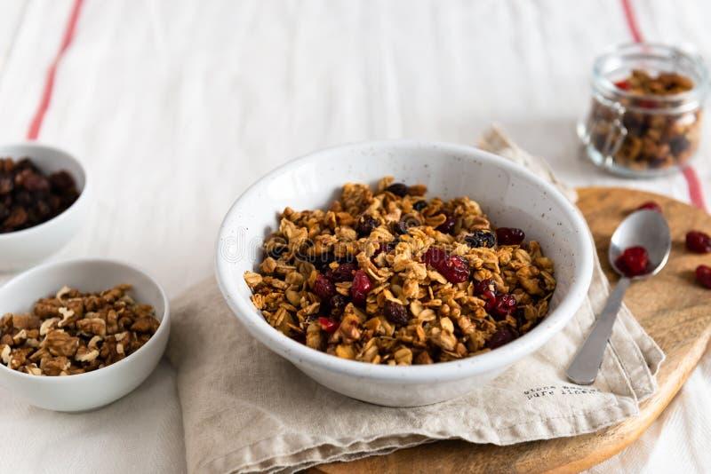 Torra frukosts?desslag Frasig honunggranolabunke med den linfr?, tranb?r och kokosn?ten Sund vegeterian fibermat royaltyfria foton