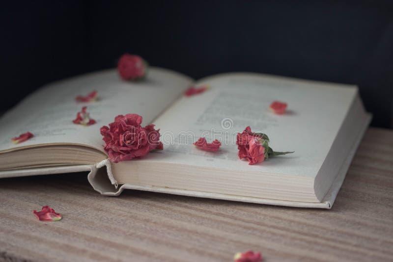 Torra rosor och öppnar boken arkivbild