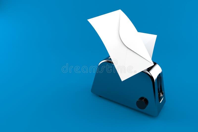 Torradeira com envelopes ilustração royalty free