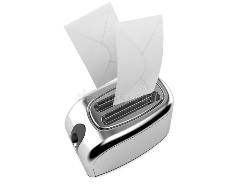 Torradeira com envelopes ilustração do vetor