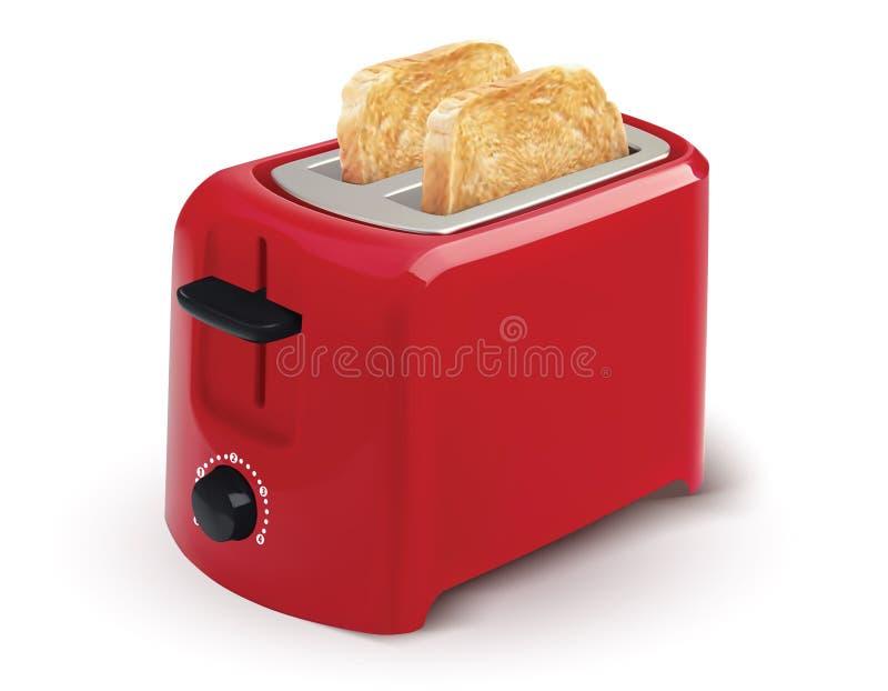 Torradeira vermelho com pão brindado para o café da manhã para dentro ilustração stock