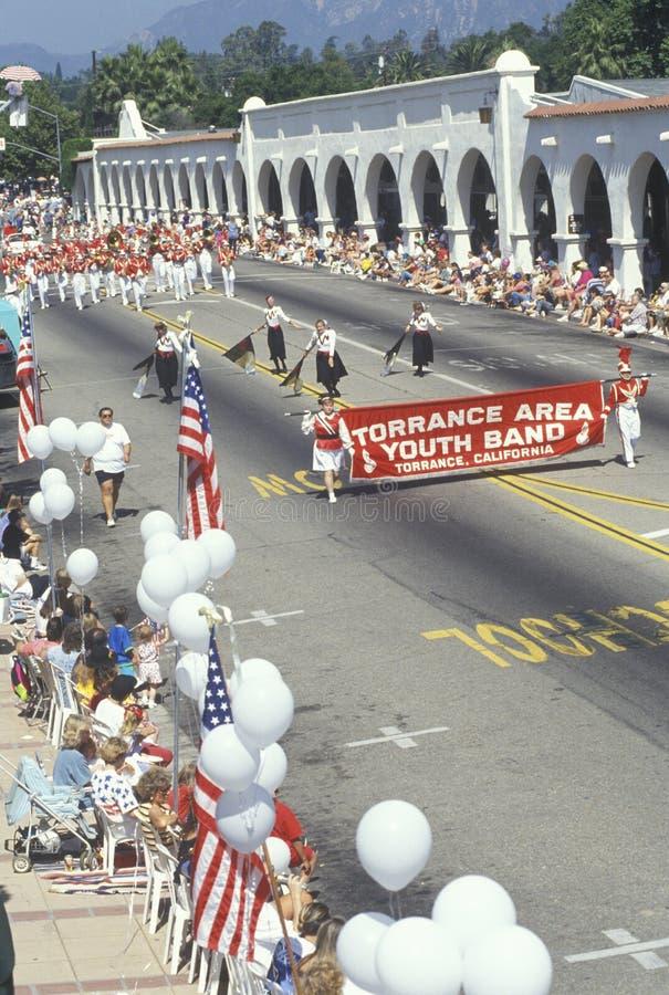 Torrance Area Youth Band Marching nella parata del 4 luglio, Ojai, California fotografie stock