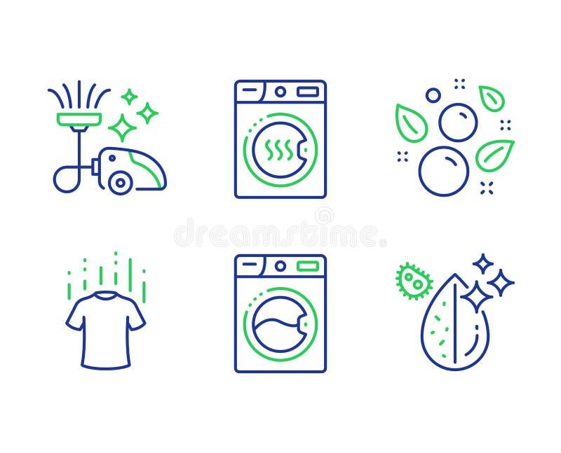 Torrare maskin, tvagningmaskin och ren bubblasymbolsuppsättning Torr t-skjorta, dammsugare och smutsigt vattentecken vektor stock illustrationer