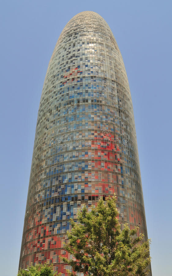 The Torre Agbar. Is a 38-storey tower, quickly became a symbol of Barcelona, Spain stock photography