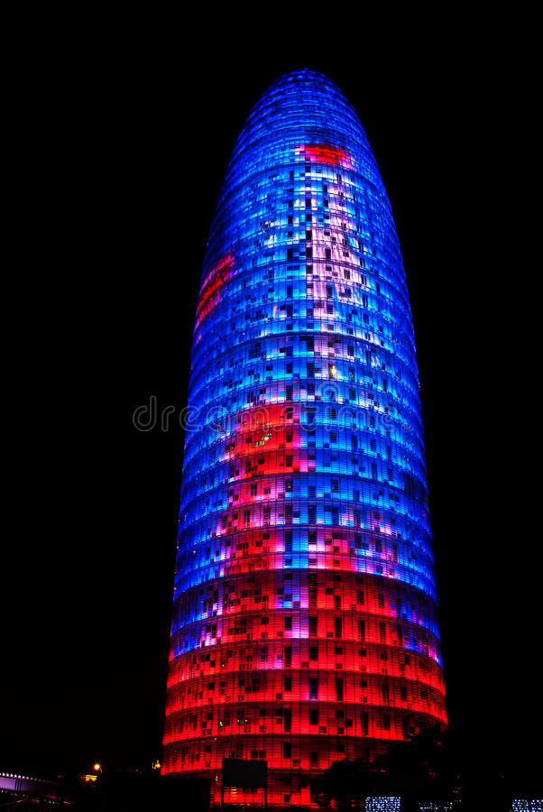 Torre Agbar, Barcelona. The Torre Agbar, named after its owners, the Agbar Group, is a 38-story tower designed by French architect Jean Nouvel in Barcelona stock images