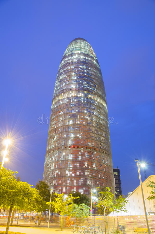 Torre Agbar in Barcelona. With lights around stock images