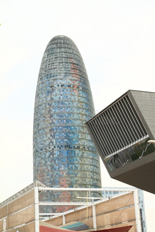 Torre Agbar in Barcelona. Modern building Torre Agbar or Torre Glòries in Barcelona, Spain royalty free stock photo