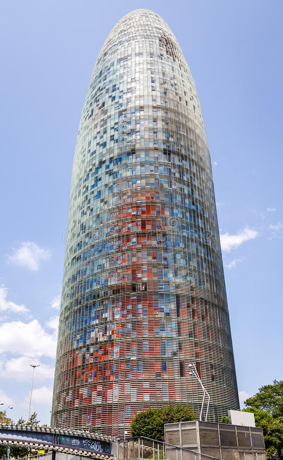 Torre Agbar in Barcelona stock images