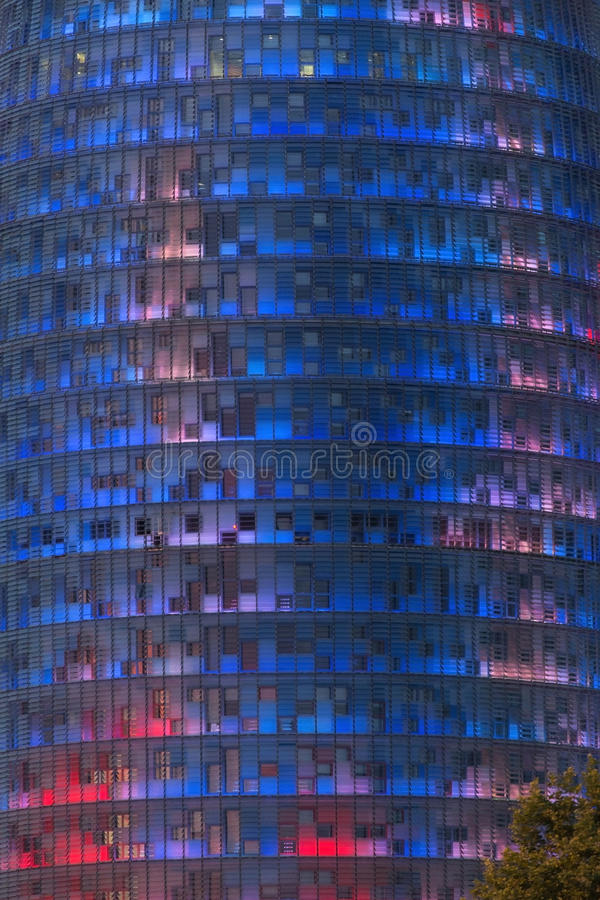 Torre Agbar - Barcelona - Spain. The Agbar Tower (Torre Agbar) is a 38 story skyscraper in the Poblenou neighbourhood of the Technological District of Barcelona stock photography