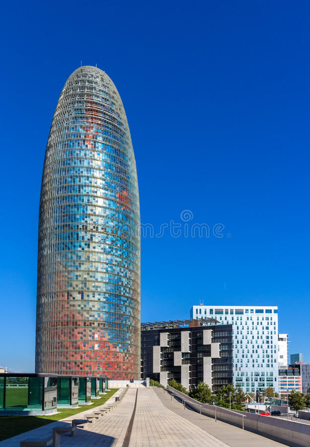 Torre Agbar, a skyscraper in Barcelona, Spain.  royalty free stock images