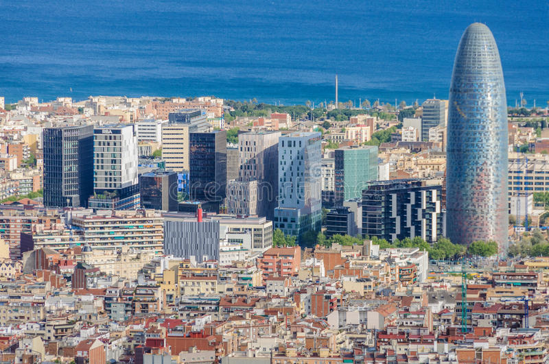 Torre Agbar from Turo del Rovira in Barcelona, Spain. View of Torre Agbar and surroundings from the hill of Turo del Rovira in Barcelona, Catalonia, Spain stock photos
