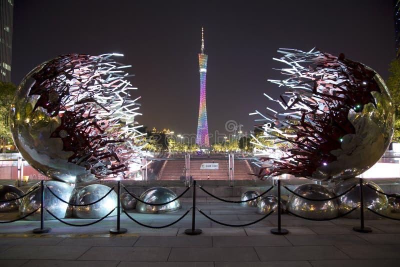 Torre agradável do cantão em cenas da noite de Guangzhou imagem de stock