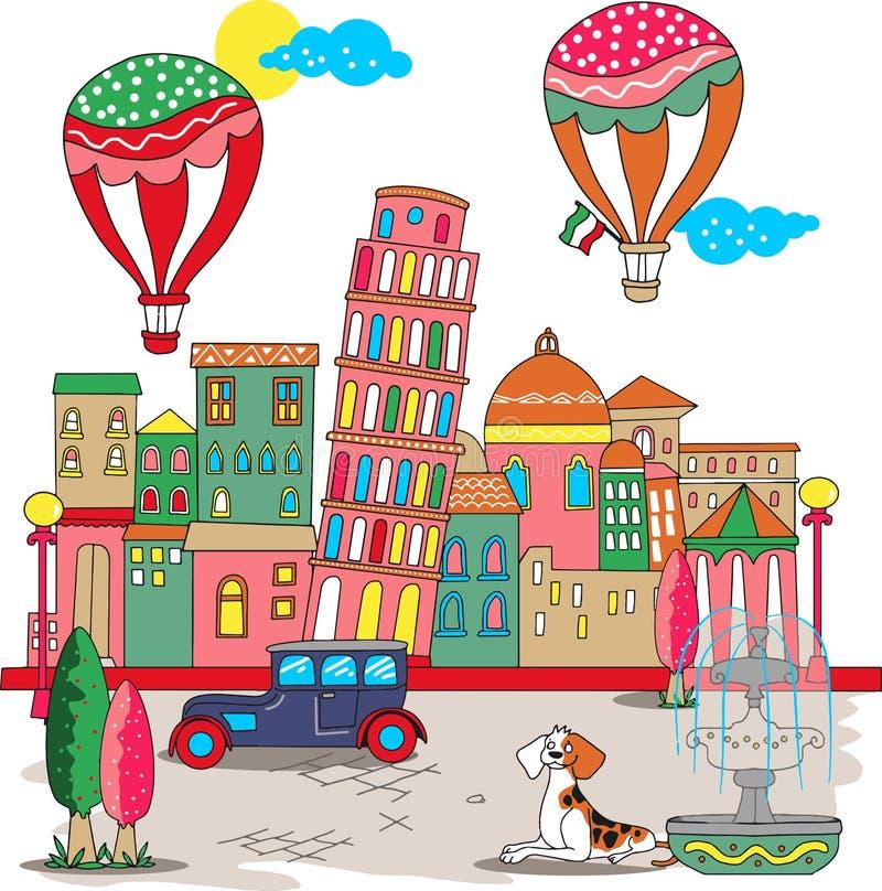 Torre agradable de Pisa en el vector de Italia libre illustration