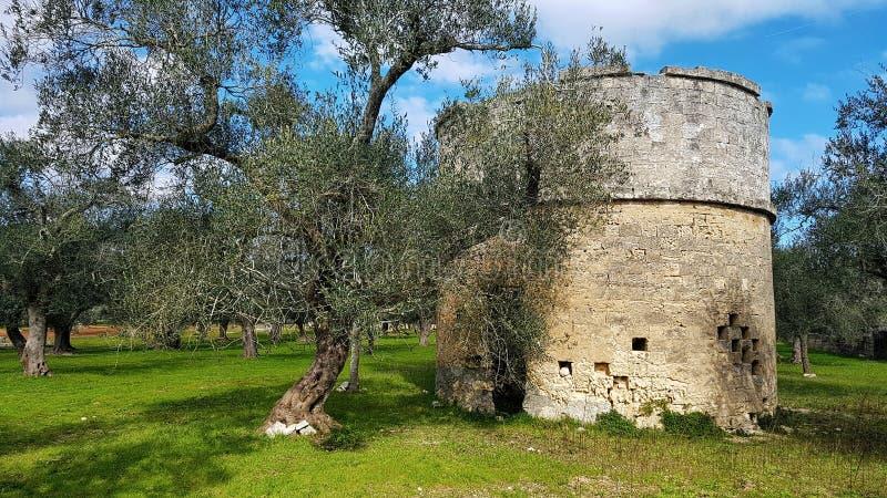 Torre antica in campagna italiana, Salento fotografia stock