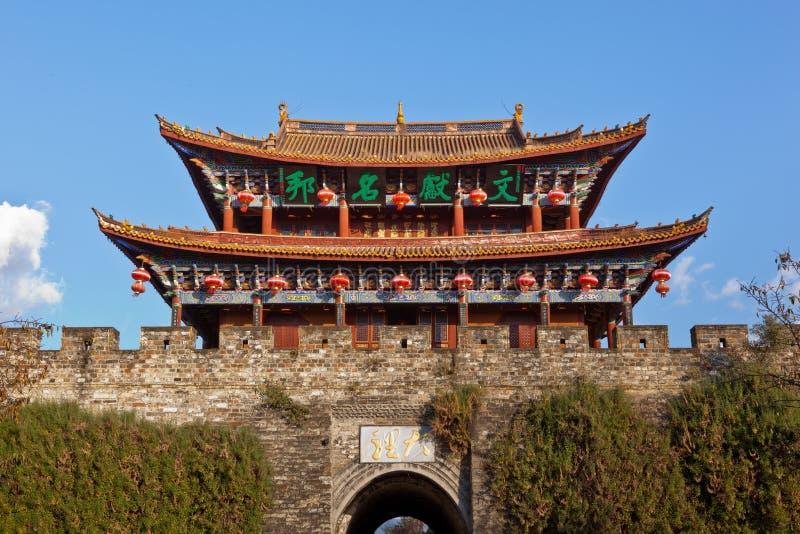Torre antiga da porta da cidade de Dali imagem de stock