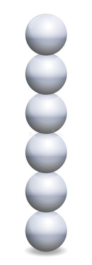 Torre apilada de las esferas en equilibrio bolas del hierro ilustración del vector