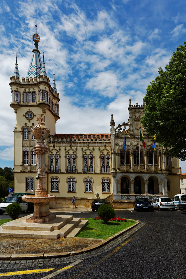 Torre barrocco di municipio di Sintra, Portogallo fotografia stock