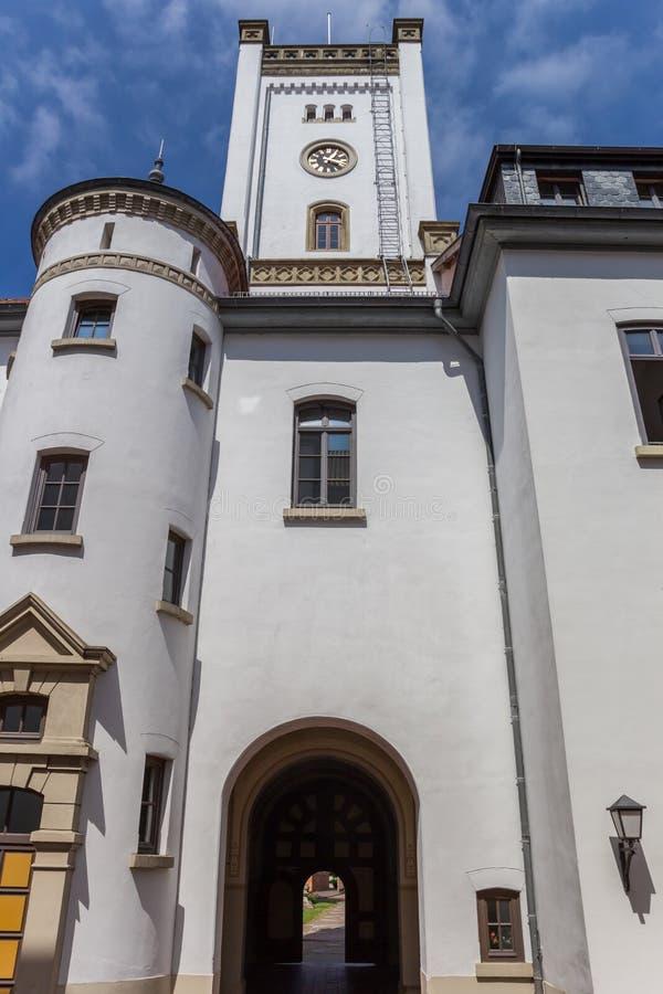 Torre bianca del castello in Aurich fotografia stock