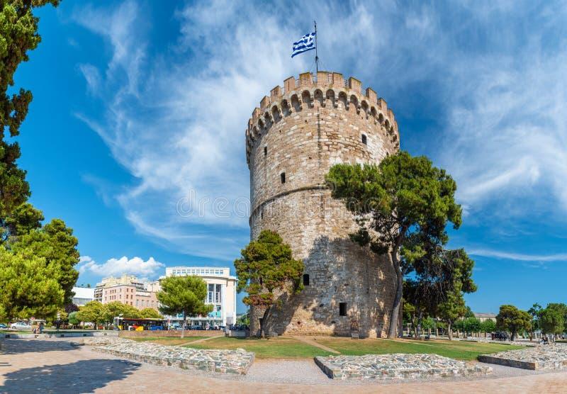 Torre bianca di Salonicco, città costiera in Grecia fotografie stock libere da diritti