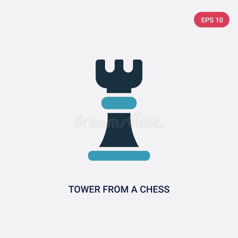Torre bicolor de un icono del vector del juego de ajedrez del concepto de los deportes la torre azul aislada de un s?mbolo de la  stock de ilustración