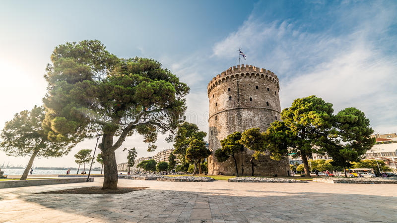Torre blanca de Salónica, capturada con la lente de fisheye foto de archivo libre de regalías