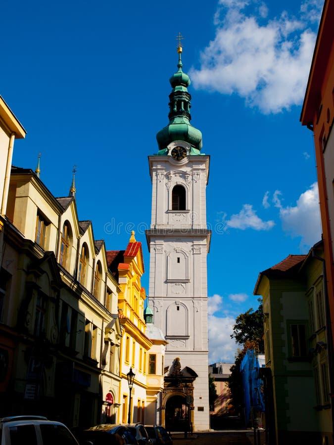 Torre blanca en Klatovy imágenes de archivo libres de regalías