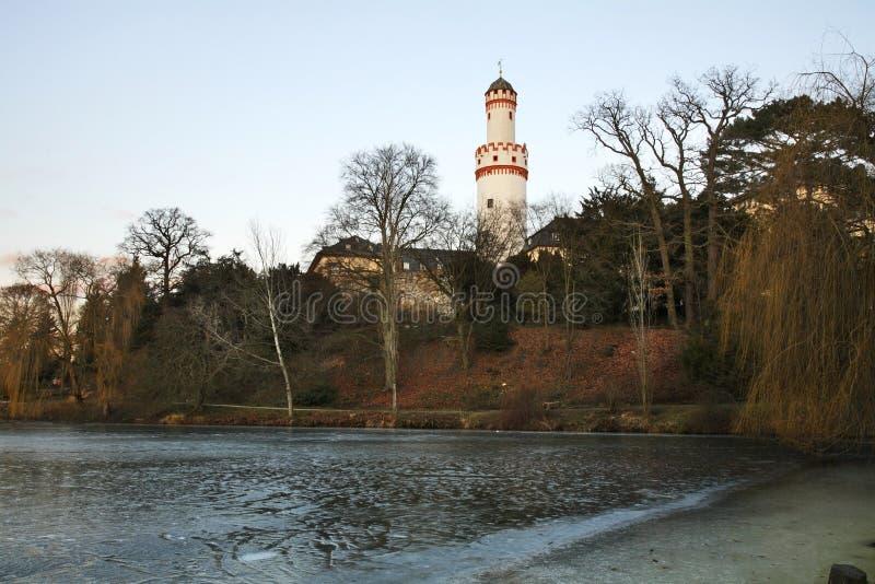 Torre blanca (Schlossturm) en mún Homburg alemania foto de archivo