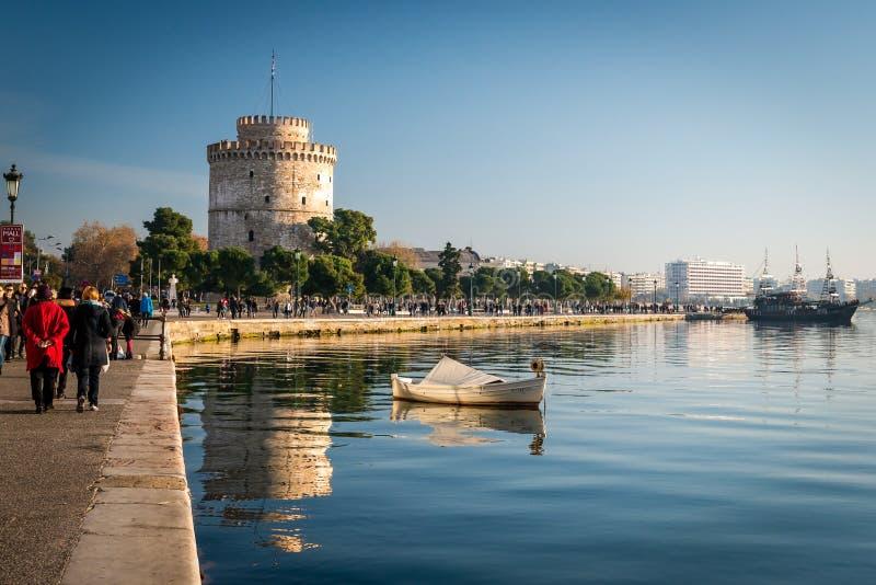 A torre branca, cidade de Tessalónica, Grécia fotografia de stock