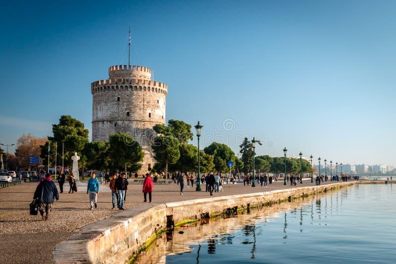 A torre branca, cidade de Tessalónica, Grécia imagens de stock