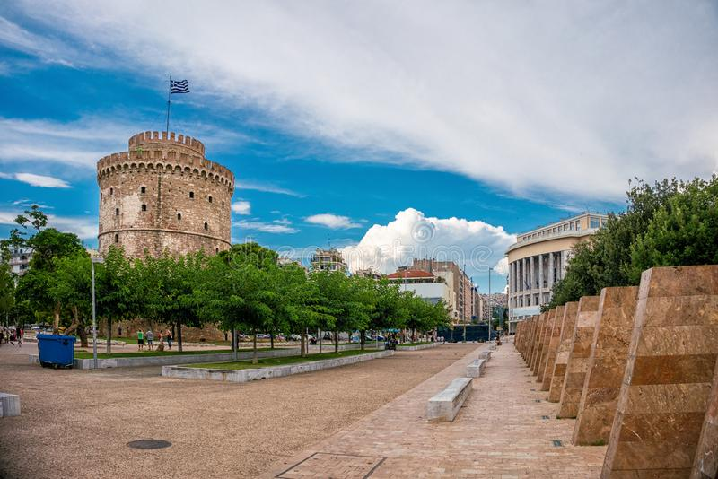 Torre branca da cidade de Tessalónica, Grécia foto de stock