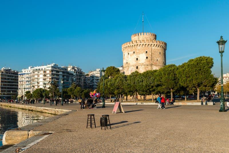 Torre branca de Tessalónica, Grécia imagens de stock royalty free