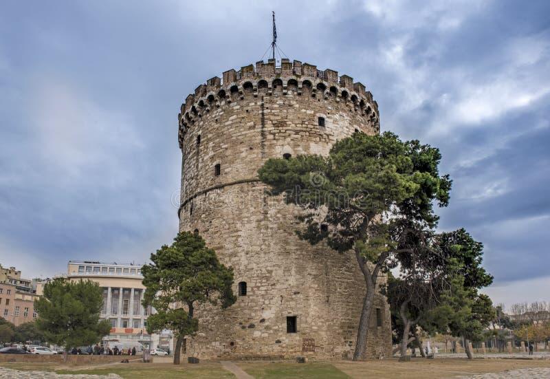 Torre branca na cidade de Tessalónica fotografia de stock