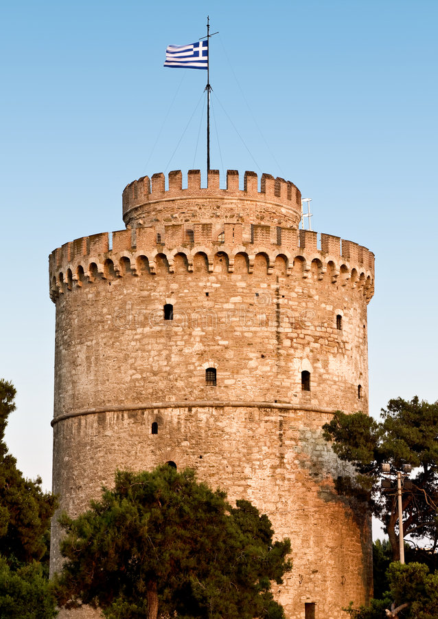 A torre branca na cidade de Tessalónica em Greece fotos de stock royalty free