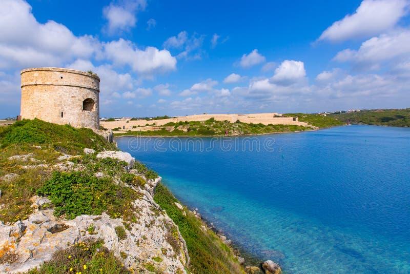 Torre Cala Teulera da torre de vigia de Mola do La de Menorca em Mahon imagens de stock