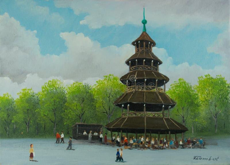 Torre cinese nel giardino inglese a Monaco di Baviera illustrazione di stock