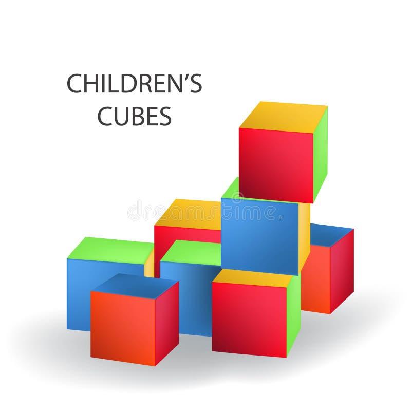 Torre colorata luminosa della costruzione di mattoni Illustrazione di vettore del blocco su fondo bianco Cubi in bianco per la vo illustrazione di stock
