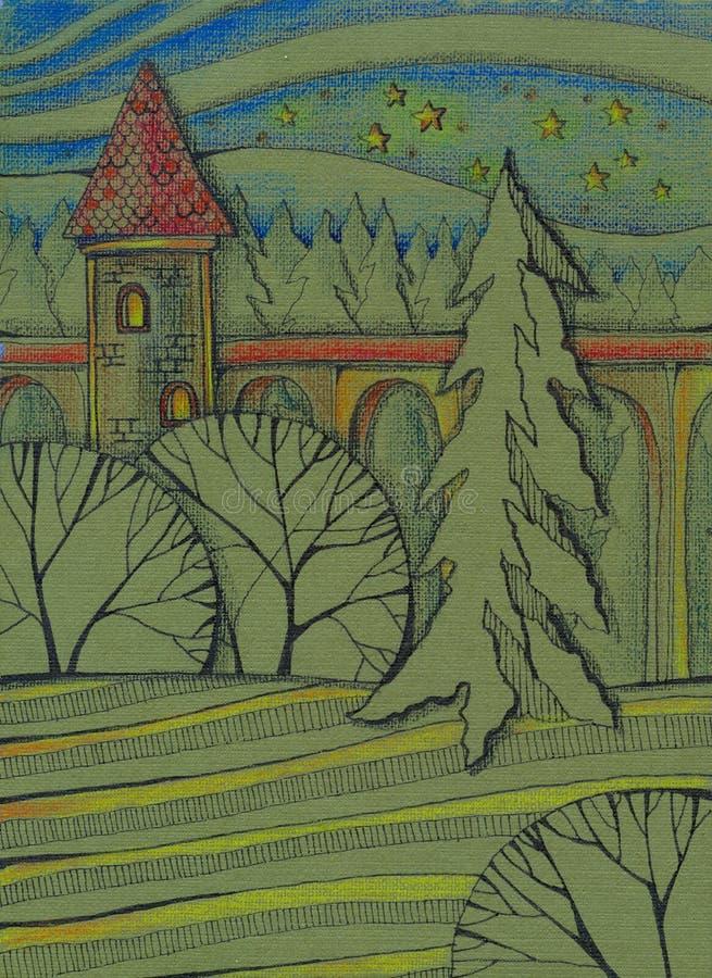 Torre com a arcada na floresta na noite estrelado Imagem desenhada m?o ilustração royalty free