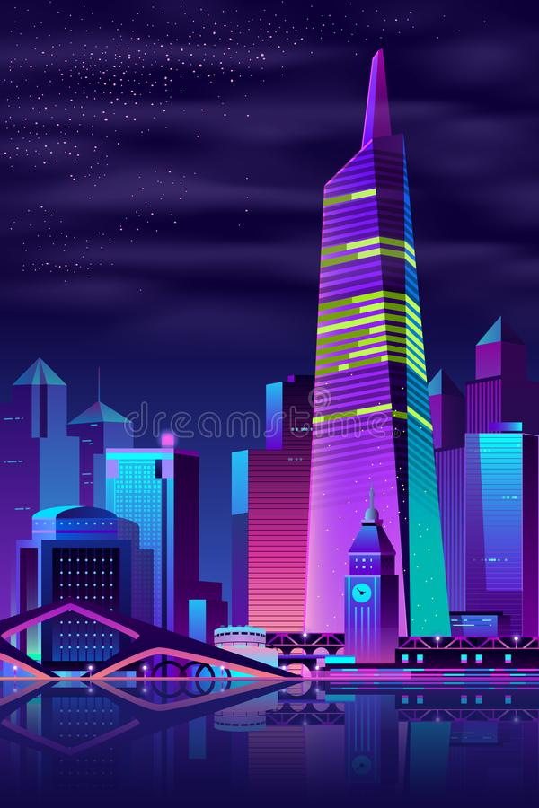 Torre d'ardore di vettore sul fiume, grande città royalty illustrazione gratis
