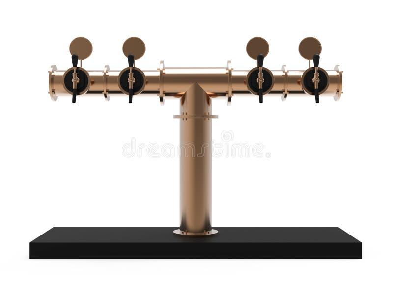 A torre 3d de bronze da bomba da cerveja da barra rende o distribuidor ilustração do vetor