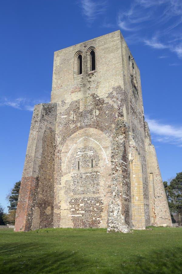 Torre da abadia de Winoc de Saint, Bergues, França fotos de stock