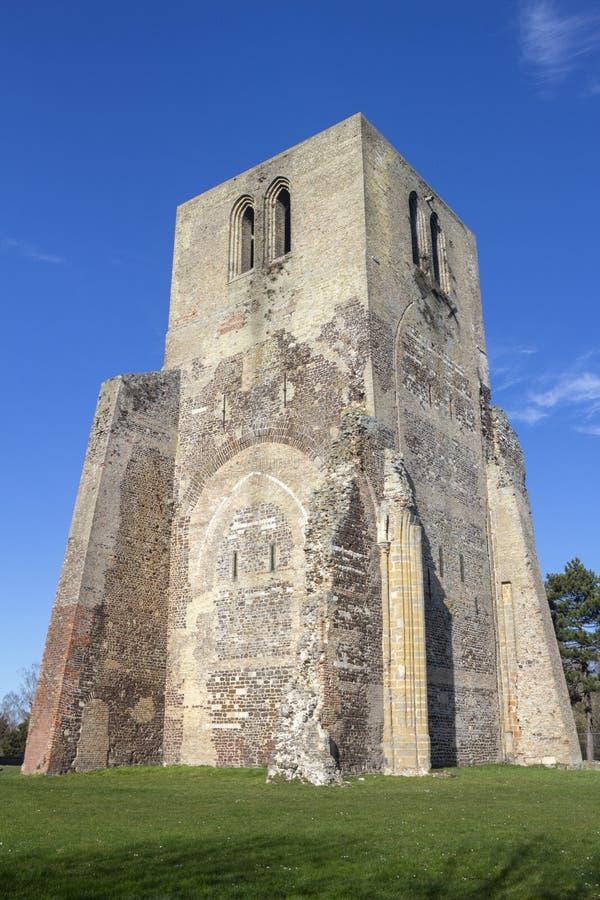 Torre da abadia de Winoc de Saint, Bergues, Pas de Calais de Nord, França foto de stock
