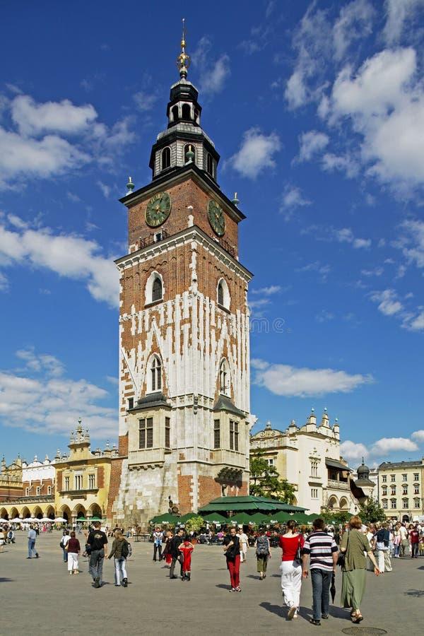 Torre da câmara municipal em Krakow fotografia de stock