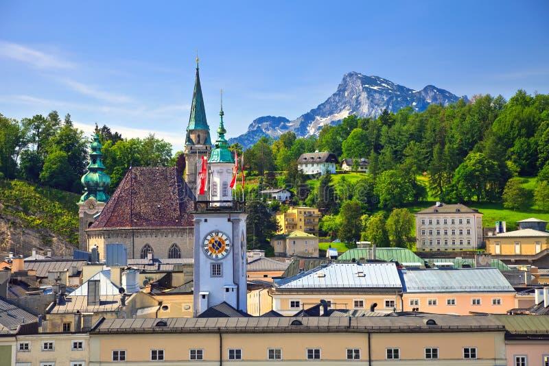Torre da câmara municipal em Salzburg fotografia de stock