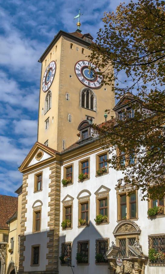 Torre da câmara municipal, Regensburg, Alemanha imagens de stock