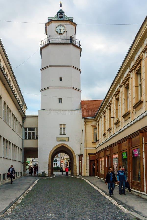 Torre da cidade, em Trencin imagem de stock