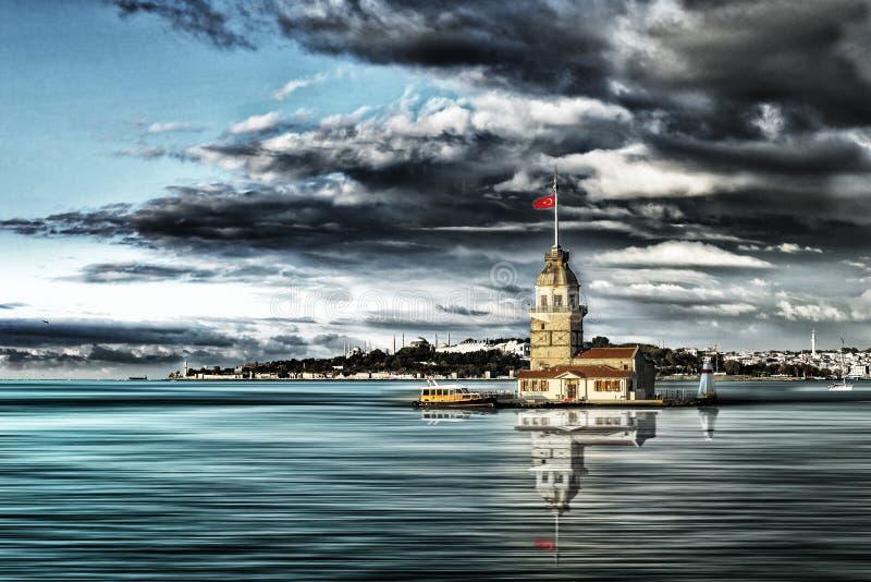 Torre da donzela em Istambul fotos de stock royalty free
