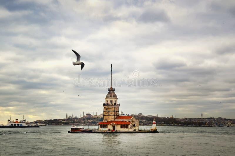 Torre da donzela em Istambul fotografia de stock royalty free