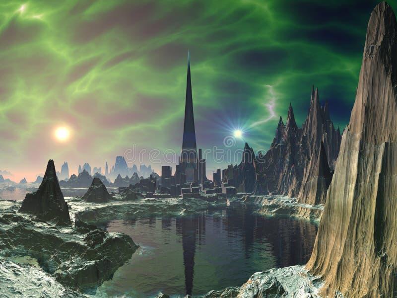 Torre da euforia no planeta Electra ilustração do vetor