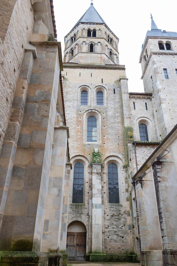 Torre da fachada e de sino de Cluny Abbey Saône e de Loire, Borgonha, França, Europa fotos de stock