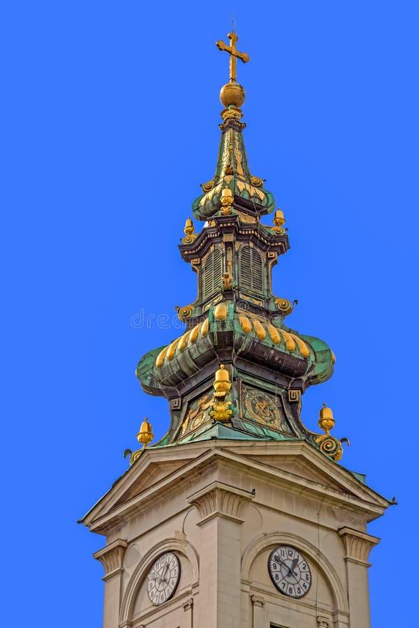 Torre da igreja da catedral de St Michael, o arcanjo em Belgr fotos de stock